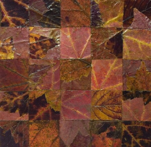 Collage of pressed leaved, cut and mounted in a grid formation. The composition is mainly muted reds, oranges and browns. It is mounted on acid free board and then sealed with a UV-screening acrylic varnish.