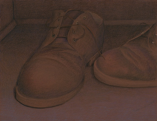 My Grandfather's Shoes  Prismacolor on brown Canson paper