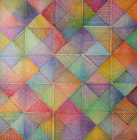 Diagonal Grid with Linear Fill with Superimposed Colored Pencil Shading in Predominantly Primary and Secondary Colors