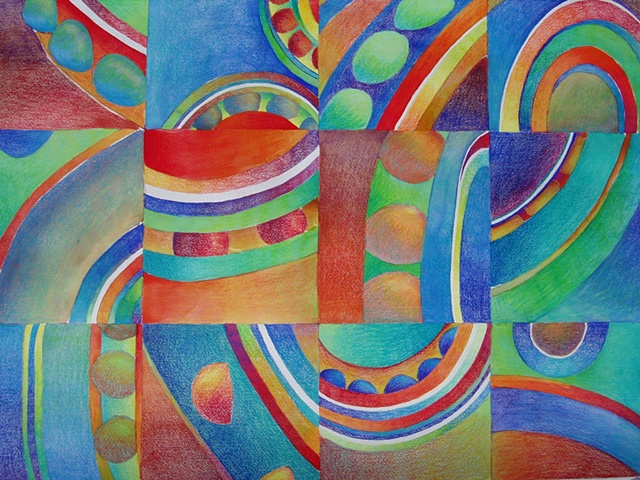 Prismacolor abstract drawing featuring circular and curved shapes and lines, on Arches paper treated with a watercolor wash.