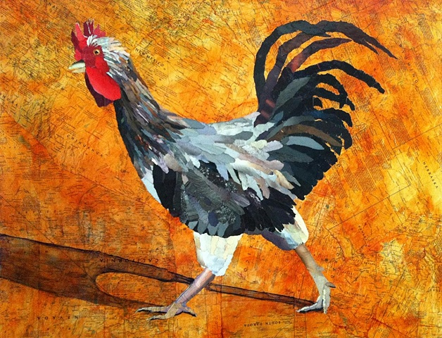 rooster animals collage maps