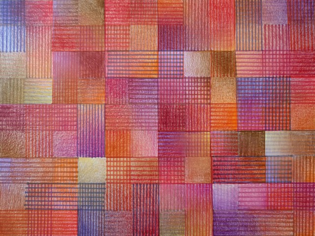 Grid based abstract non-representational design using cross-hatching and color gradation.  Violets, Reds & Oranges