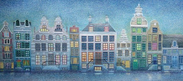 Stylized colored pencil rendering of buildings in Amsterdam.  Predominant colors are browns, grays and blues.
