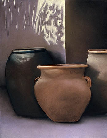 Still life, pottery. shadows, realism  Pastel still life of pottery in violets and browns on colored Canson paper.