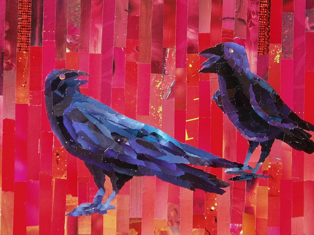 crows, birds, red,  Magazine collage of two crows on Canson paper