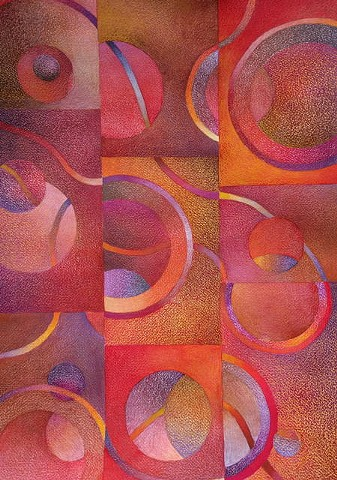 Abstract mixed media drawing featuring  circles and lines arranged in a grid. Predominantly reds, oranges, browns and violets