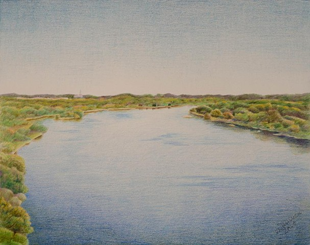 Realistic landscape.  View of the Wisconsin River from Ferry Bluff.