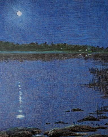 Wisconsin Lake at Night  Lake scene in Wisconsin, with moon reflection.  Primarily blues..