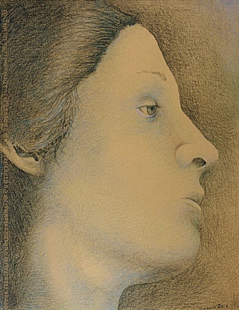 Prismacolor drawing of a woman in side view on Canson dark beige paper.