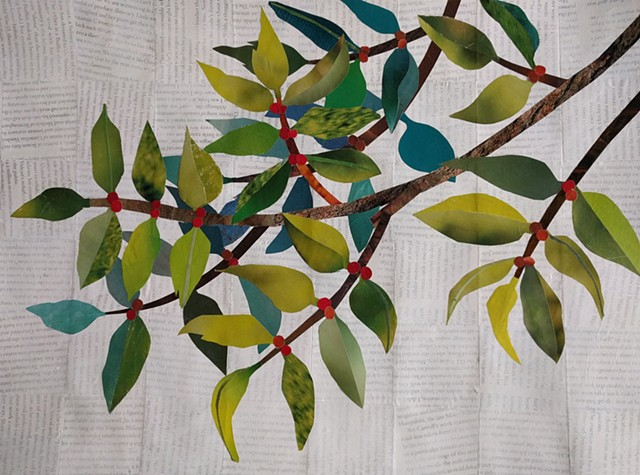 Leaves Branches Berries extend horizontally acroo=ss white background