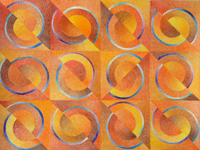 Geometric abstract with half circles placed in a grid.Dominant colors oranges and browns, with highlights of blues and violets.