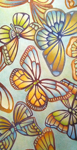 Abstracted butterflies drawn on a light green background