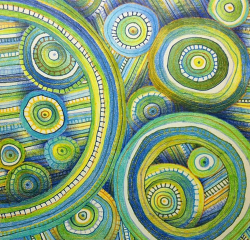 Abstract ink drawing of circles and lines, non-objective, in blues and greens