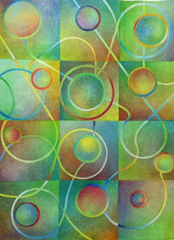 Abstract grid featuring circles and lines, with a variety of colors, but green predominating.