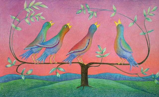 Fantasy depiction of birds in morning song