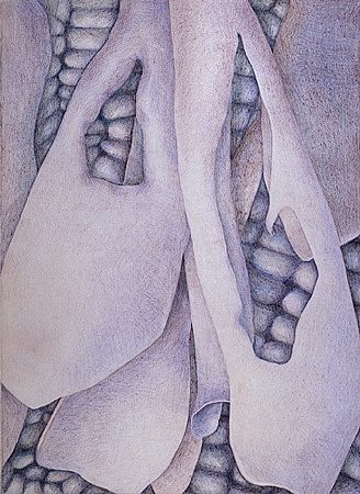 abstract, layers, violets Prismacolor  colored pencil drawing, abstract in violets and browns on natural Arches paper.