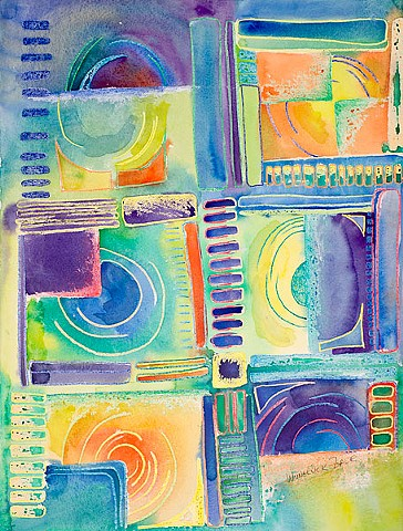 Grid-like crayon resist drawing with watercolor washes