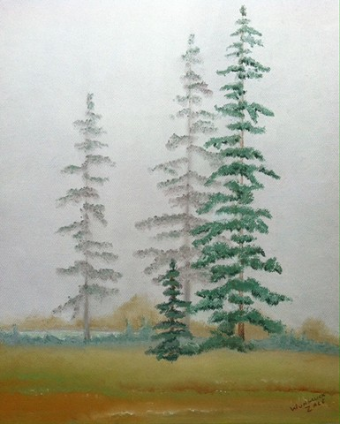 Hazy landscape with pine trees. Muted greens, browns, grays and blues.