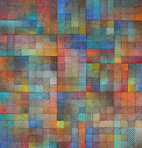 Grid based abstract non-representational design using cross-hatching and color gradation.  Reds, Blues, Browns & Oranges
