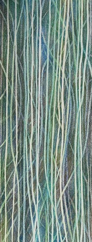 Abstract, blues, Greens, lines  Prismacolor drawing of layered undulating lines in blues and greens on natural Arches paper