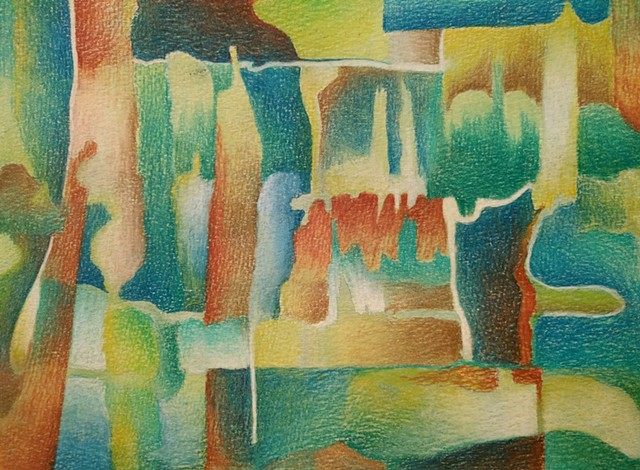 Abstract Colored Pencil drawing primarily in greens, blues and reds.