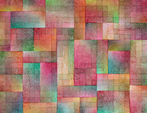 Grid based abstract non-representational design using cross-hatching and color gradation.  Reds, Greens, Browns & Oranges