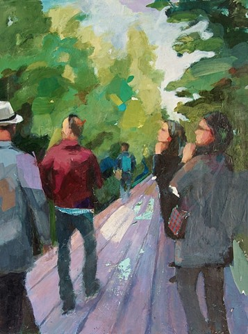 """High Line, Acrylic, Paper and Charcoal on Canvas 30"""" x 40"""" by Phyllis Gorsen"""