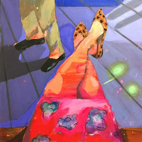 painting, contemporary art, colorful, painting of couple, date night, flowers, skirt, shoes, purple, blue, figurative art, figurative