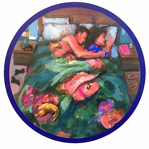 Couple, paintings, love, romance romantic painting, colorful painting, round painting, collage, acrylic painting, fine art, contemporary art, art exhibition, couple in bed