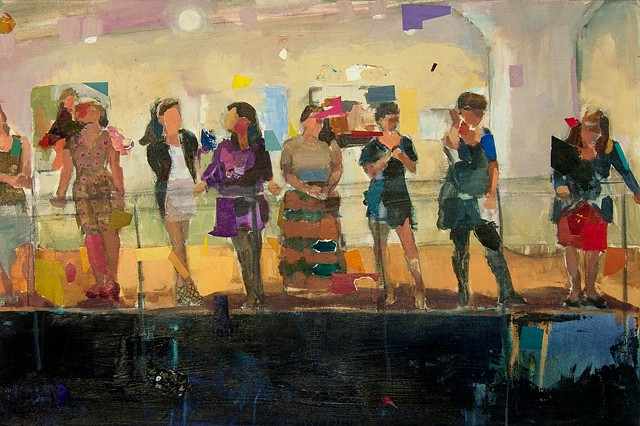 """The Line Up, Acrylic, Paper and Charcoal on Canvas  24"""" x 36"""" by Phyllis Gorsen"""