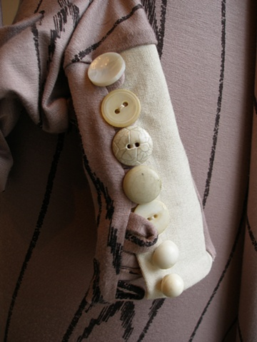 vintage buttons on printed modal cuffs