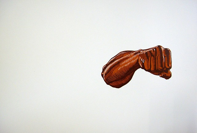 brown fore arm and fist floating on white background