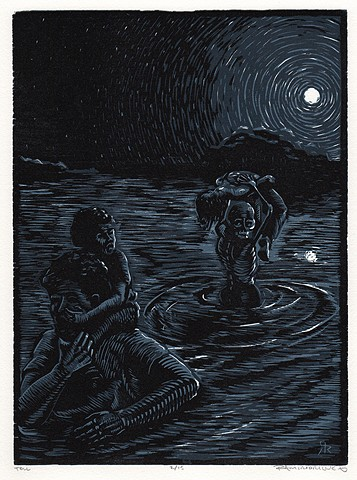 Nocturnal scene of figures and skeleton wading a river