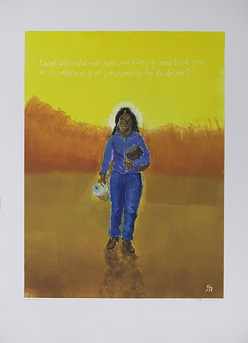 woman walking in desert, holding water jug