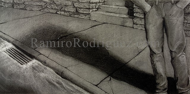 drawing, charcoal, nocturn, sidewalk, figure