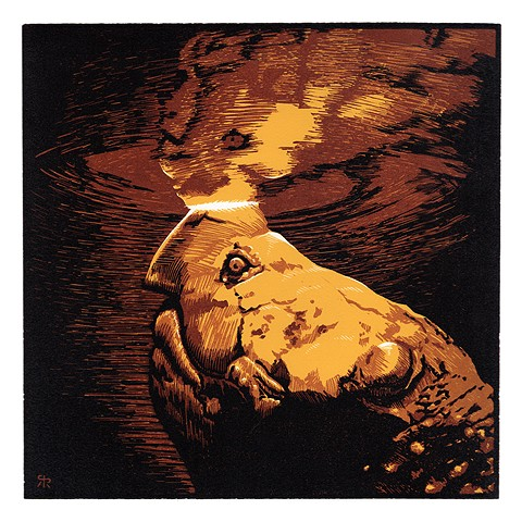 snapping turtle, print, relief, linoleum, reduction