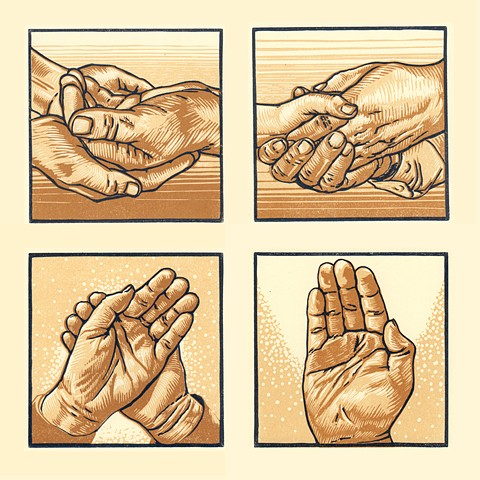 set of 4 hand prints used as illustrations