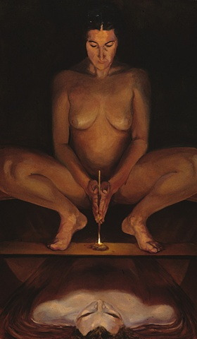 nude female figure balances on shelf, starting fire by rubbing a stick