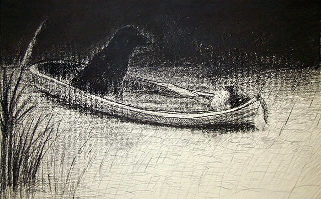 man and dog in a boat in the rain