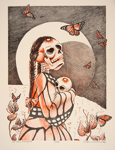 mariposa, luna, moon, skeleton, monarch butterfly, latino, lithograph, Ramiro Rodriguez