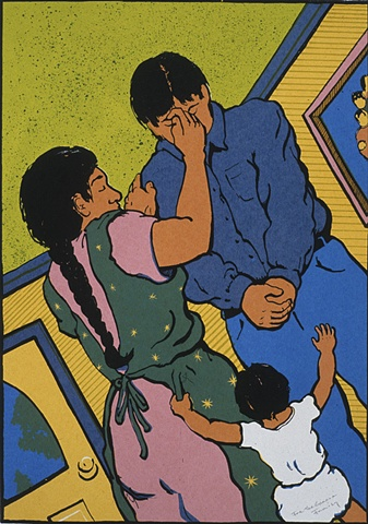 mother blessing a young man while a child grasps her skirts