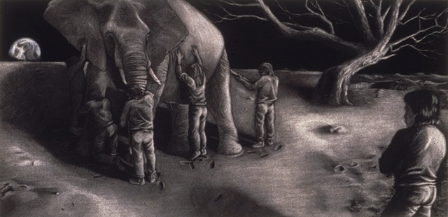 figure watches 5 figures handle an elephant on the moon