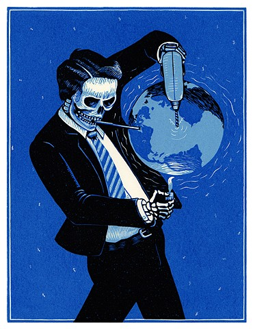 skeleton in a business suit drilling, sucking and burning the world