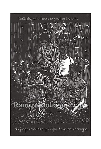 four kids stand in a light dappled yared