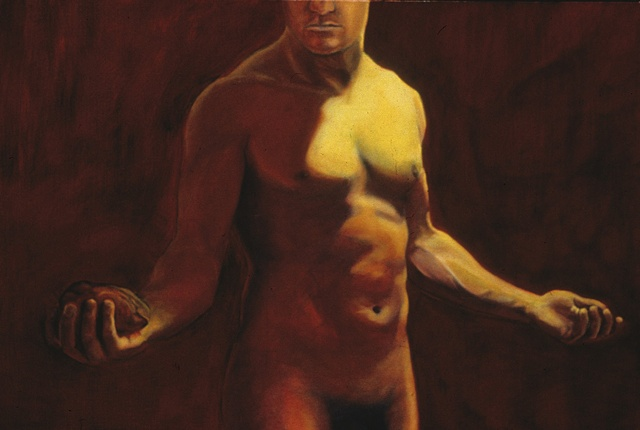 nude male torso holding a heart in his right hand