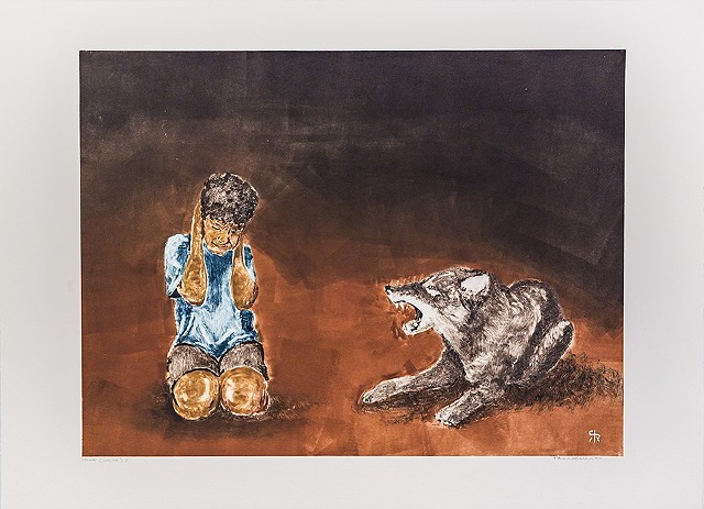boy squatting with hands over ears while coyote next to him barks