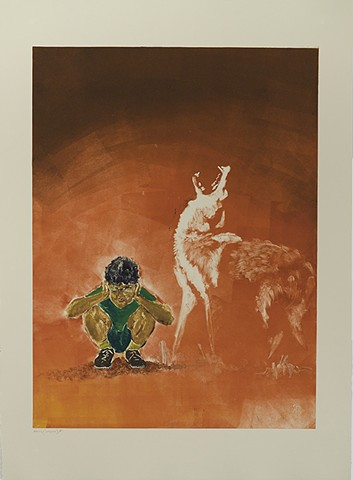 boy squatting holding hands over ears while coyote howls near him