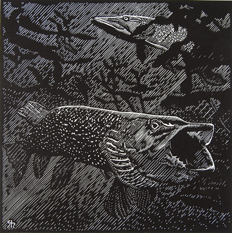 great northern pike, linoleum, relief print, Ramiro Rodriguez