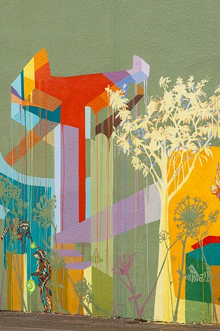 Mural, Solano Avenue, color field painting, BART, butterflies, bees, trees, Raccoon, fennel