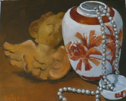oil painting of ginger jar and angel sculpture by Vicki Ingham